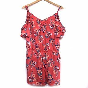 3/$30 ARIZONA Coral Floral Cold Shoulder Romper